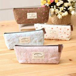 Vintage Flower Floral Pencil Pen Case Bag Cosmetic Makeup St