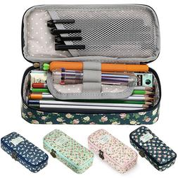 Students Floral Pencil Pen Case Cosmetic Makeup Bag Storage