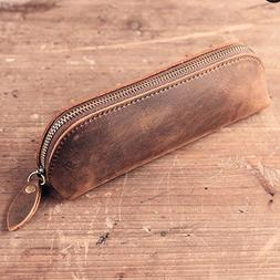 SAIBANG Vintage Leather Pencil Case with Zipper, Handmade Ge