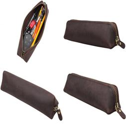 Iblue Vintage Leather Zipper Pen Pencil Pouch Case Holder Ba