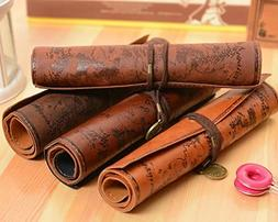 ANTIMAX Vintage Roll Up Pencil Case Creative Map Matte Smoot