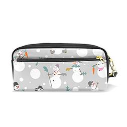 ColourLife White Snowmen Grey Background Leather Zipper Penc