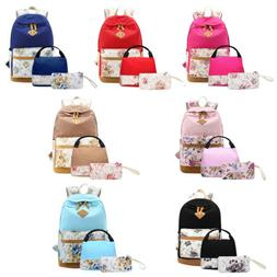 Women Backpack Teen Bookbag With Lunch Box Bag And Pencil Ca