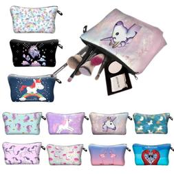 Womens Kids Girl Unicorn Make Up Bag Travel Cosmetic Pencil