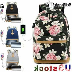 Women Striped Backpack Earphone Hole and USB Charging Port S