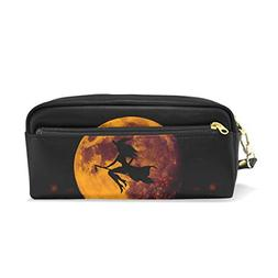 ALAZA Yellow Moon Light Witch Silhouette Pencil Case Pen Bag