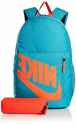 Nike Youth Elemental Backpack Kids School Book bag Blue/Oran