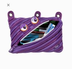 Zip-It Monster Zipsters 3 Ring Pouch Pencil Bag Purple Teeth