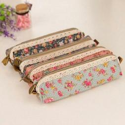 Zipper Pencil Floral Lace Flower Pouch Bag Handbags Case