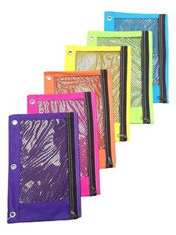 Zippered Mesh Pencil Pouch for 3 Ring School Binders Bright