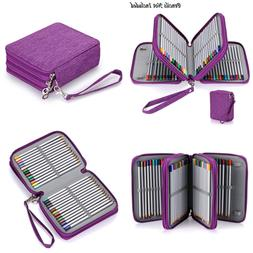 BTSKY Zippered Pencil Case Canvas 72 Slots Handy Holders For
