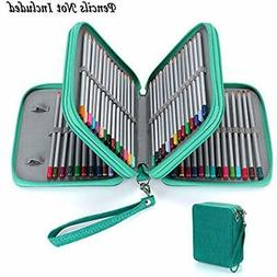 Zippered Pencil Case--Canvas 72 Slots Handy Holders For Pris
