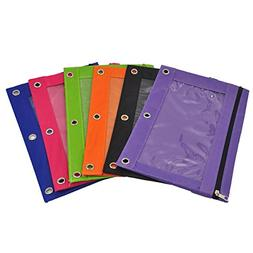 iSuperb 6 Pack Zippered Pencil Pouches 3 - Ring Grommet Hole
