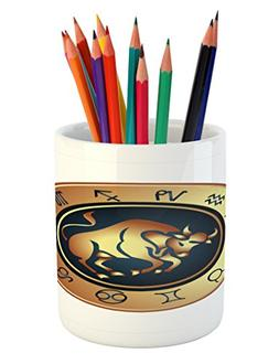 Ambesonne Zodiac Taurus Pencil Pen Holder, Circle with Twelv